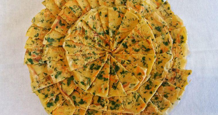 Panquecas de farinha grão-de-bico e vegetais